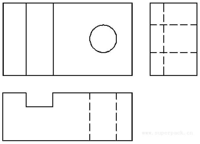 一、直角坐标系的概念 直角坐标系由坐标原点和三条相互垂直的坐标轴组成。并规定坐标原点的值为(0,0,0),假设水平向右为X轴正方向,水平向前为Y轴正方向,垂直向上为Z轴正方向。 把一个三维实体放置于直角坐标系中,实体中的每一个点都对应着唯一确定的坐标值。 二、投影的概念 投影是物体或图形的影子投射在一个面上或一直线上。按照光源的不同,可以分为中心投影和平行投影。中心投影是使用点光源对物体形成的投影(见图3-9)。平行投影是使用平行光源对物体形成的投影,也称正投影(见图3-10)。  图3-9 中心投影